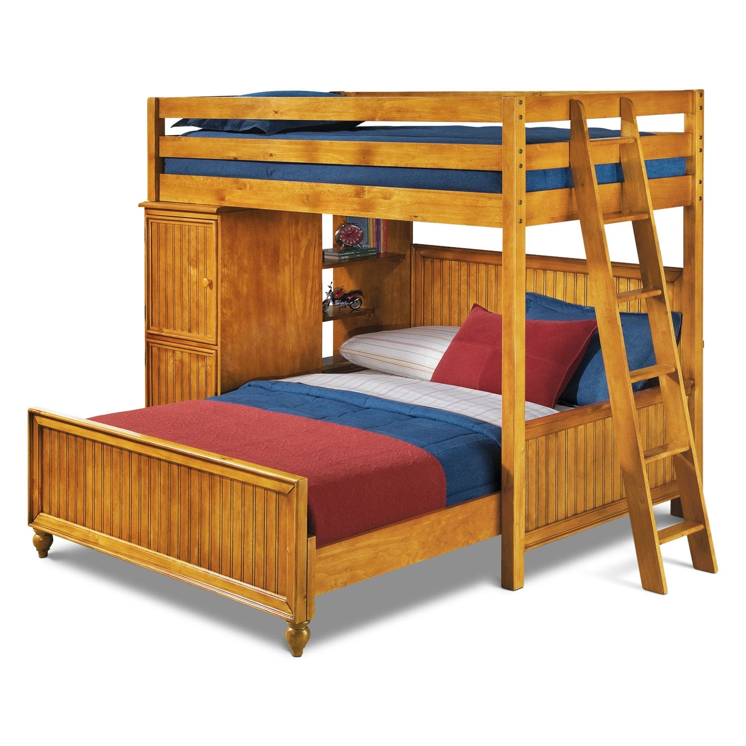 Colorworks Loft Bed with Full Bed - Honey Pine | Value ...