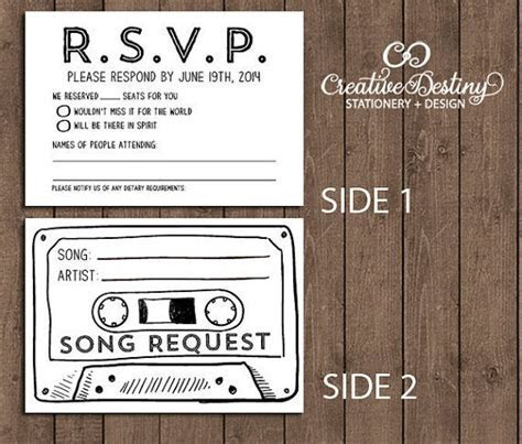 50 Cassette Tape Song Request RSVP Cards by