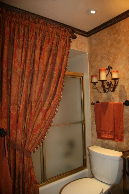 tuscany shower curtain  world styled bathroom