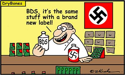Dry Bones cartoon, BDS, Nazi, IDF, Palestinian Arab, Israel, Gaza, Palestine,