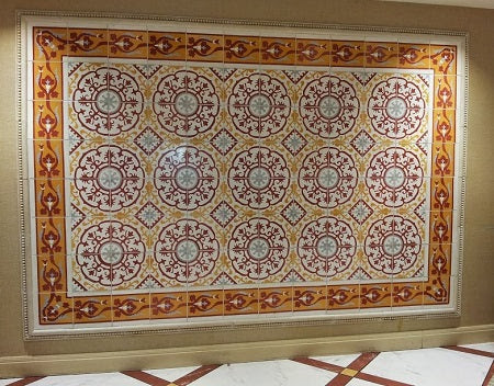 A wall tile mural installation at the Tropicana of Cuban Heritage Cement Tile