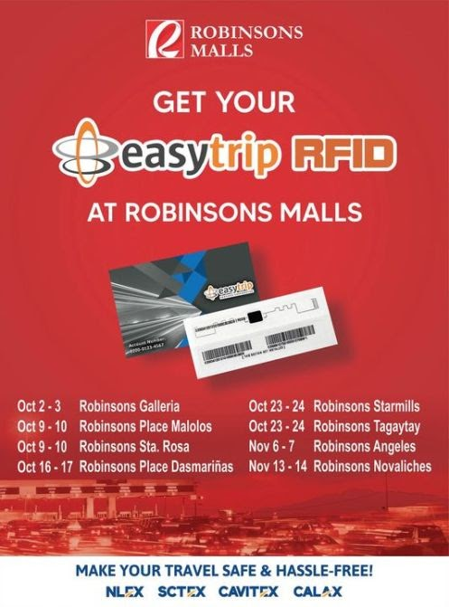 Get your FREE Easytrip RFID at Robinsons Malls for contactless and cashless travels in NLEX, SCTEX, CAVITEX, C5 Link and CALAX
