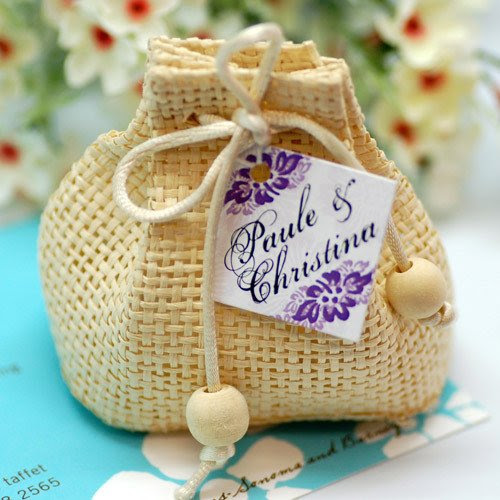 Mini Natural Woven Drawstring Sac