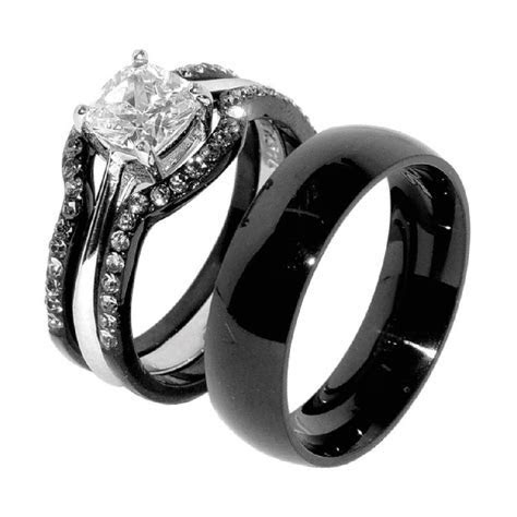 His & Hers 4 PCS Black IP Stainless Steel Wedding Ring Set