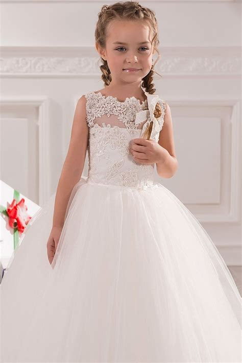 Cheap Sleeveless White Lace First Holy Communion Dresses