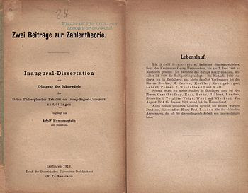 English: Front and back of PhD thesis of Adolf...