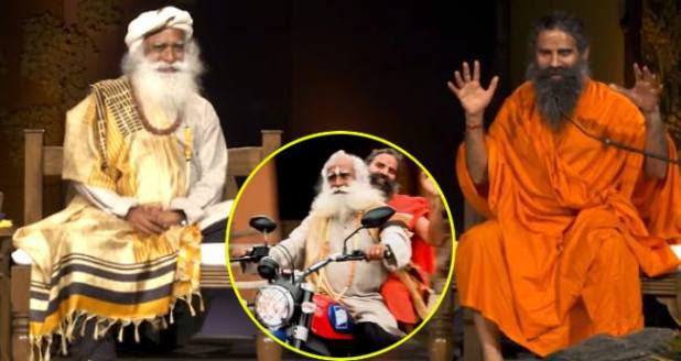 Sadhguru takes Baba Ramdev on his Ducati bike for a ride at Isha Yoga Center in Coimbatore