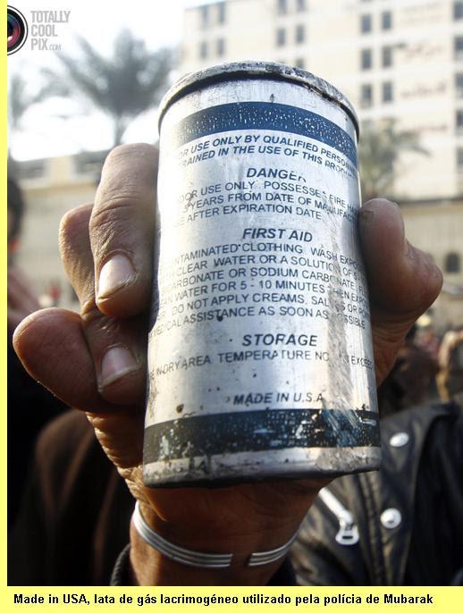 Lata de gás lacrimogéneo.