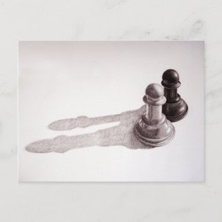 Pencil Drawn Pawns Chess Postcards