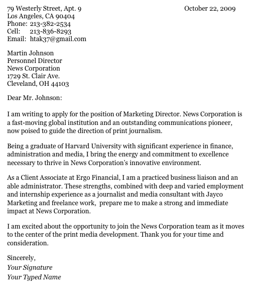 Business Letter Format Harvard