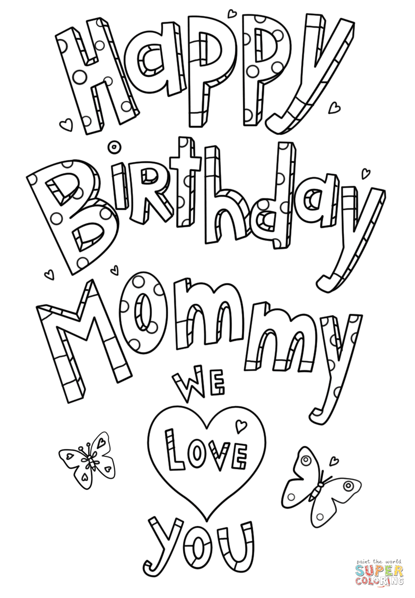 Happy Birthday Mommy Doodle coloring page | Free Printable ...