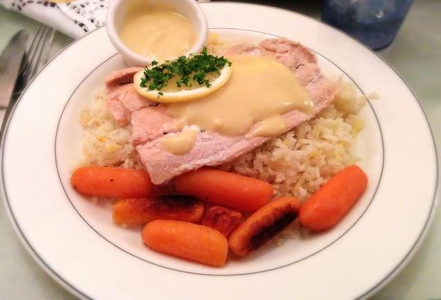 Downton Abbey Dinner: Poached Lemon Salmon over Saffron Basmati Rice