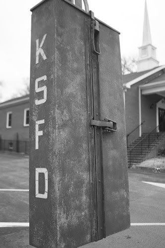 Kingston Springs Fire Department Emergency Call Box (black & white)