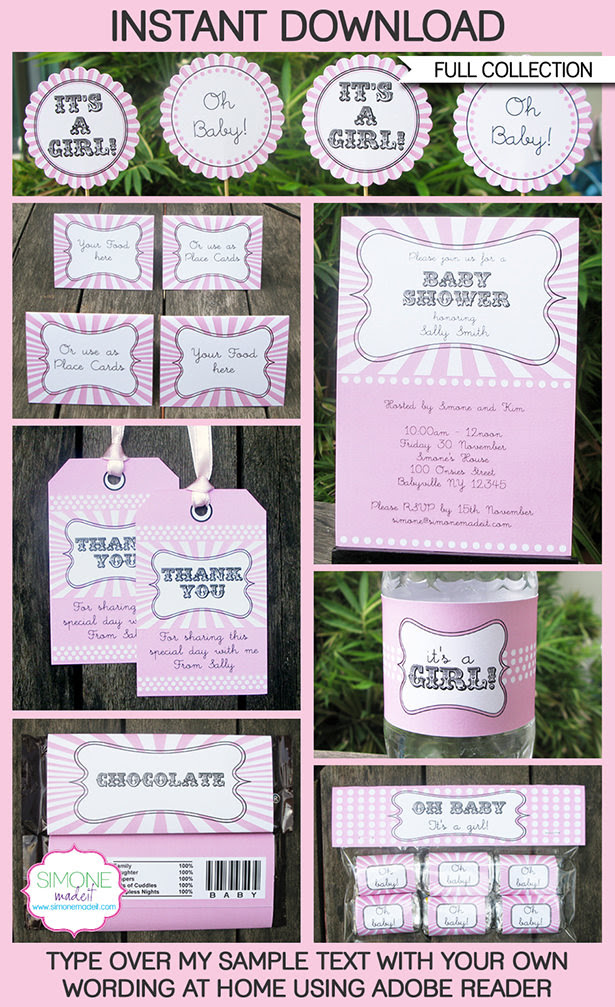 Printable Pink Girl Baby Shower Invitation & Party Decorations