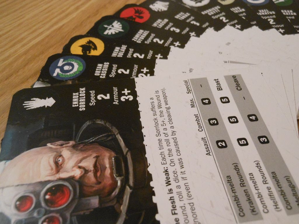 Character cards for the space marines from Deathwatch: Overkill.