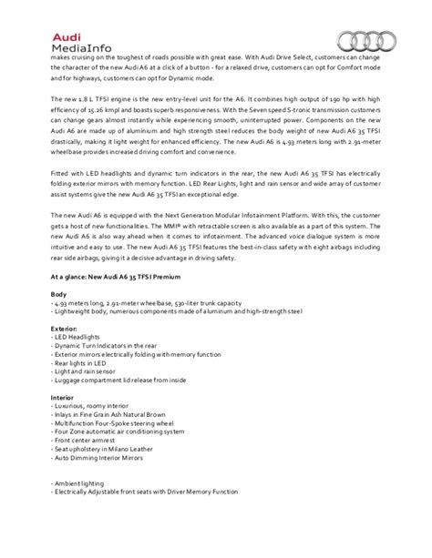 2015 Audi A6 35 TFSI Launch - Press Release