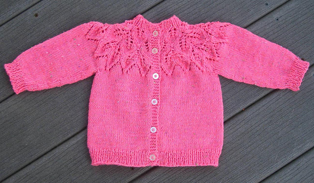 Craft Passions Leafy Baby Sweater Free Knitting Pattern Link Here
