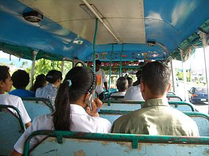 Riding a local bus in Nadi, Fiji