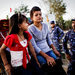 Police question young women at the Kakarbhitta crossing in eastern Nepal,along the border with India. Advocates against human trafficking have asked the border police,often known for corruption, for help.