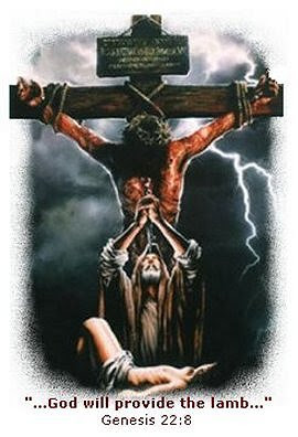 תוצאת תמונה עבור the lamb of God Abraham sacrifices isaac Jesus on the cross overhead""