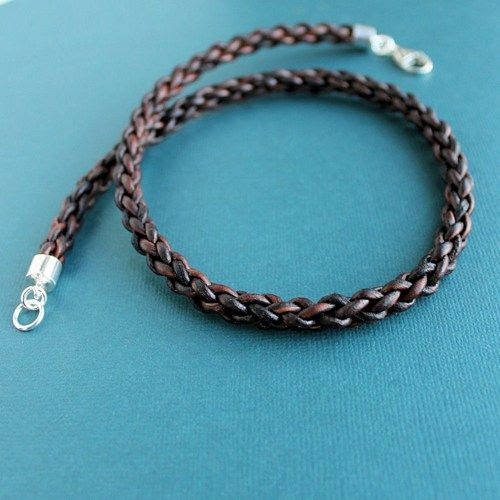 Mens Thick Leather Necklace Braided Cord Sterling Silver Clasp | LynnToddDesigns - Jewelry on ArtFire