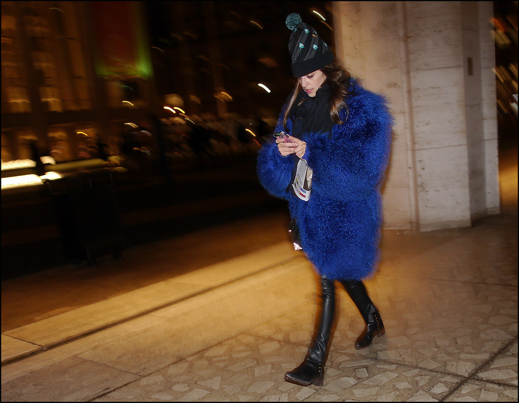 FW 2014-2 -27 big blue fur leather pants knit hat with pom-pon ol