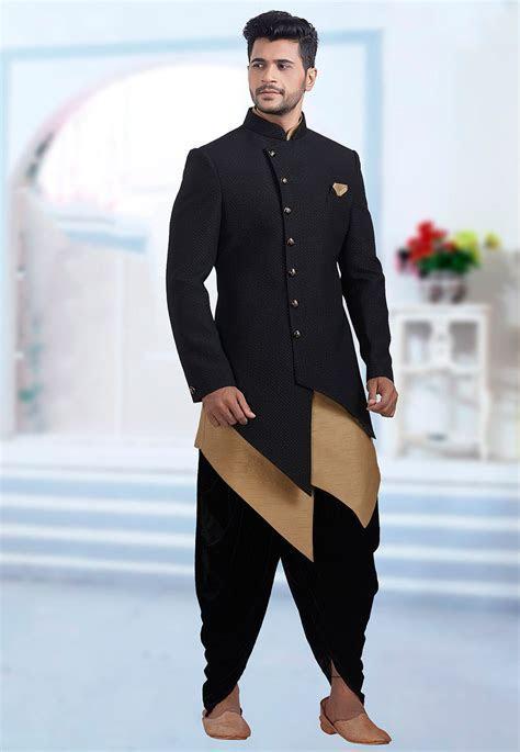 Plain Art Silk Jacquard Jodhpuri Suit in Black : MHG851