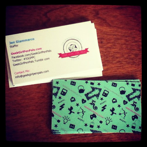 International Geek Girl Pen Pals Club business cards! Round 4 opens tomorrow! www.geekgirlpenpals.com #iggppc