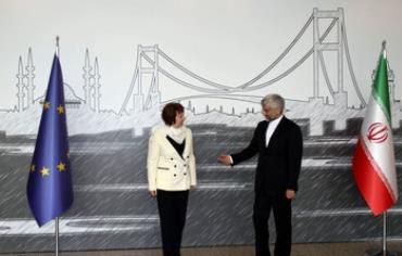 Catherine Ashton, Saeed Jalili during before talks