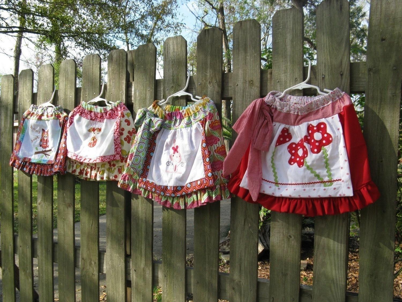Applique' Apron Skirt Sewing Pattern - DOWNLOADABLE