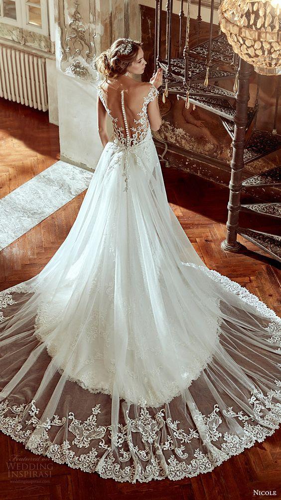 Kappe ärmel A-Linie overskirt Hochzeit Kleid mit eine schiere Spitze und illuion wieder auf die Tasten