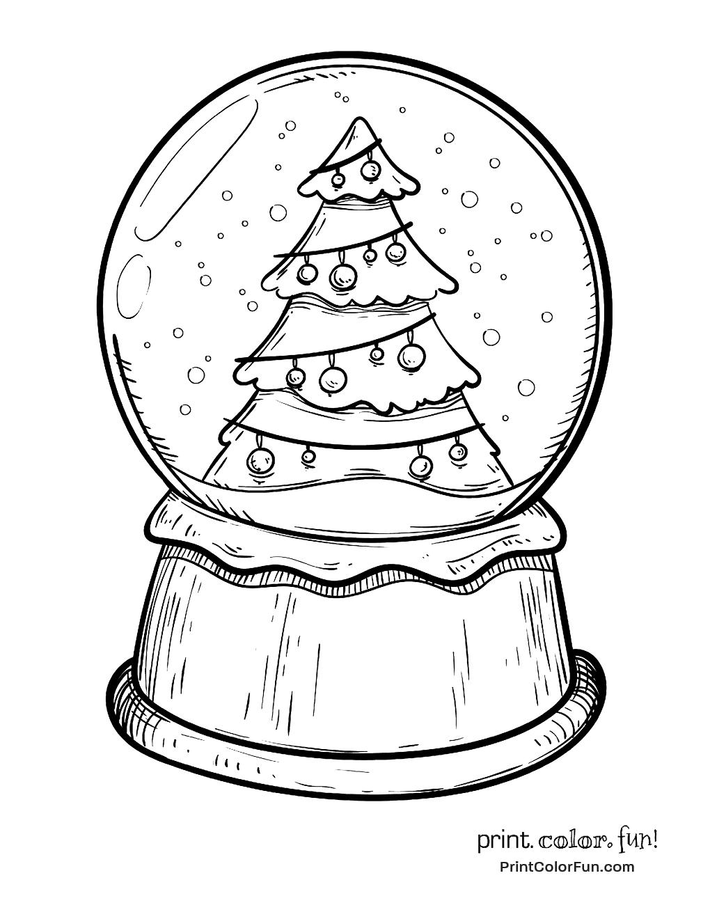 Christmas snow globe with xmas tree
