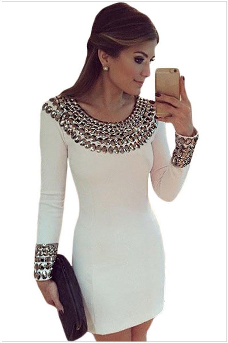 European size bodycon dress long sleeve white blouse with collar
