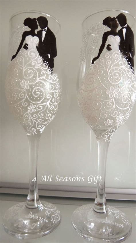 wedding champagne glasses hand painted glasses