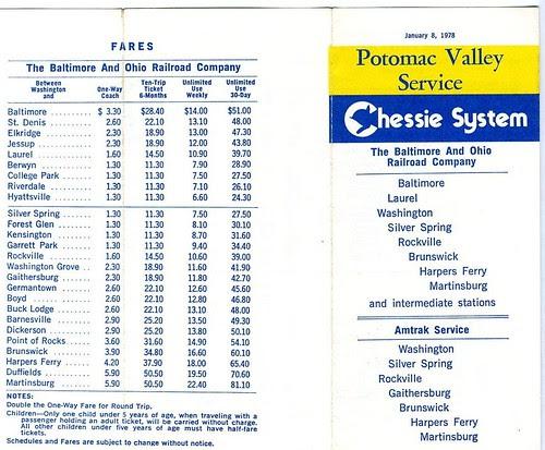 19780108 01 Potomac Valley Service timetable