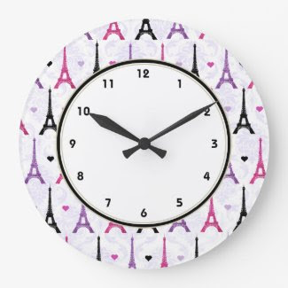 Paris Pink & Purple Eiffel Tower pattern Clock