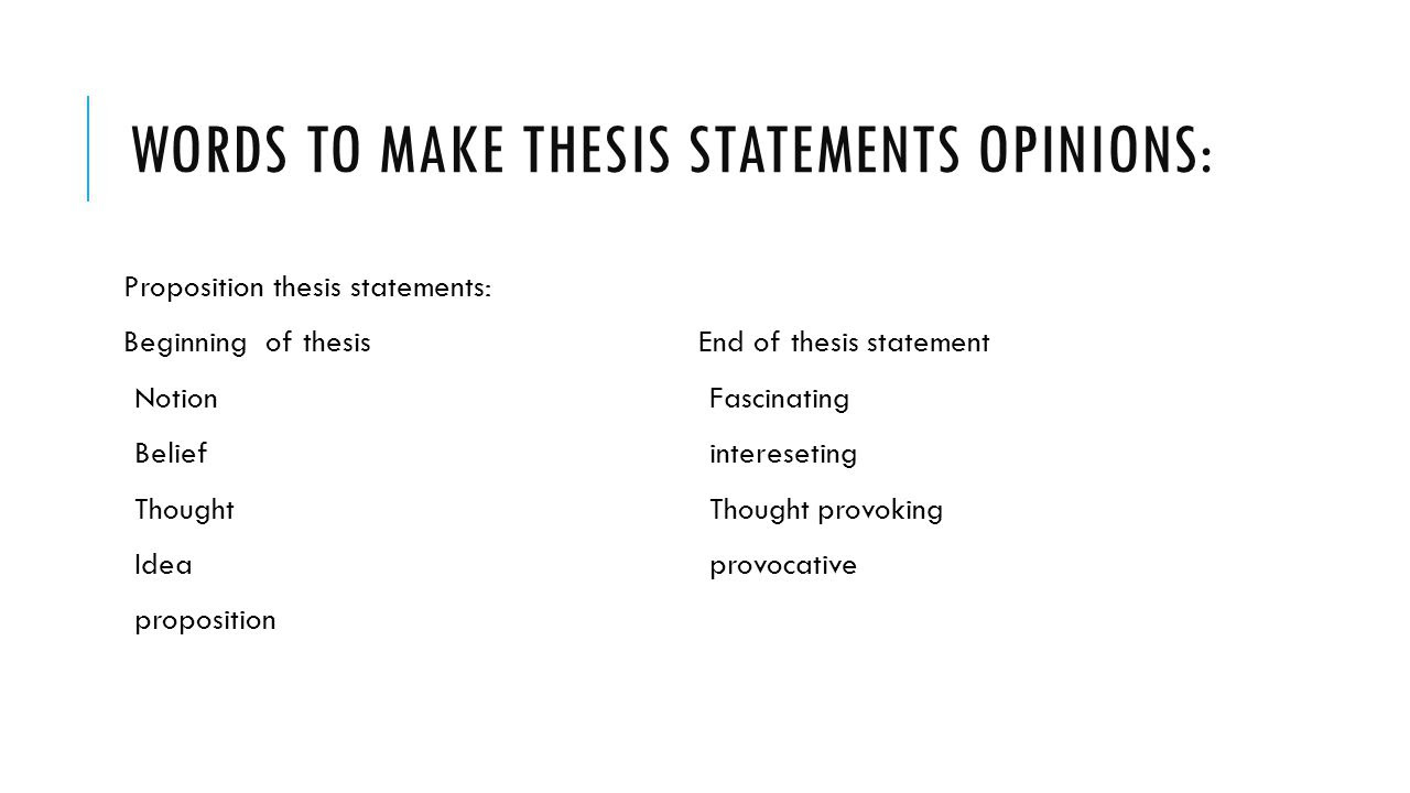 Thesis Starter Words - Thesis Title Ideas For College