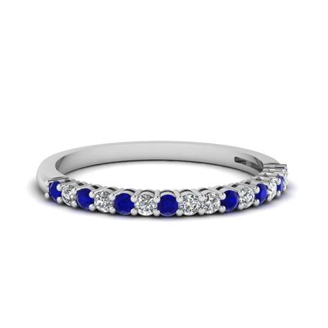 Basket Prong Diamond Anniversary Band With Sapphire In 18K