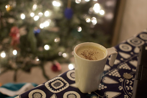 egg nog, homemade, with bourbon