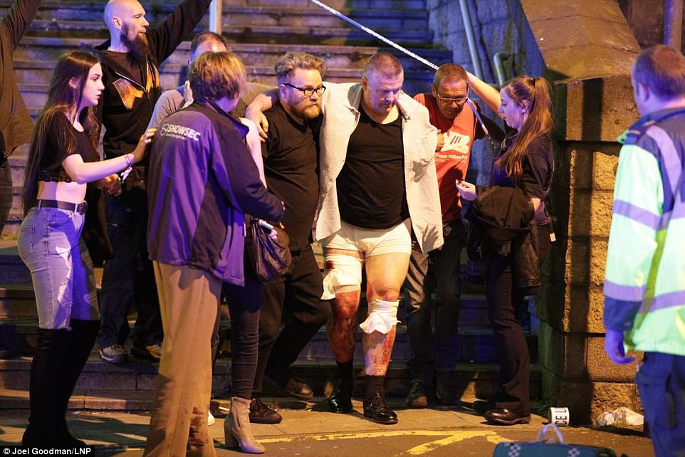 Concert-goers helped injured people make their way from the gig in Manchester tonight