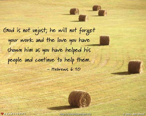Inspirational illustration of Hebrews 6:10