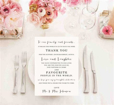 Top Thank You Cards For Wedding Reception Tables #PU34