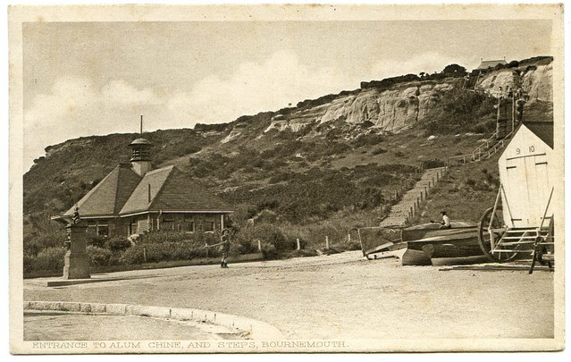 Alum Chine estuary, Westbourne, Bournemouth - eastern cliffs and steps