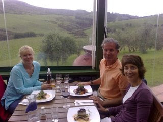 Sheri, Mike, and Roxanne before they dig into their wonderful meals