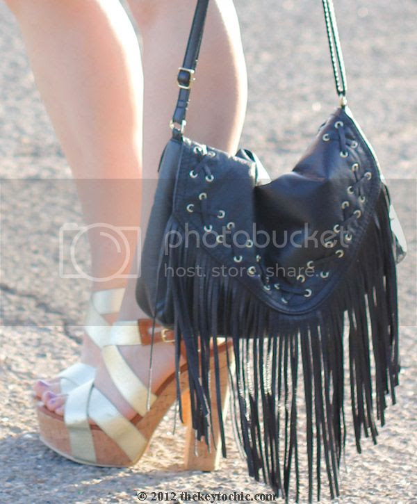 Nasty Gal black dress, leopard print floppy hat, fringe handbag, southern California style, Los Angeles fashion blogger