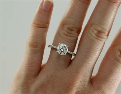 7.5mm Moissanite Engagement Ring With Diamonds, Solitaire