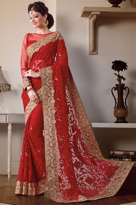 Red Color Heavy Work Wedding Bridal Designer Saree From