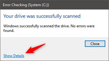 Escaneo exitoso del disco Comprobación de errores en Windows 10