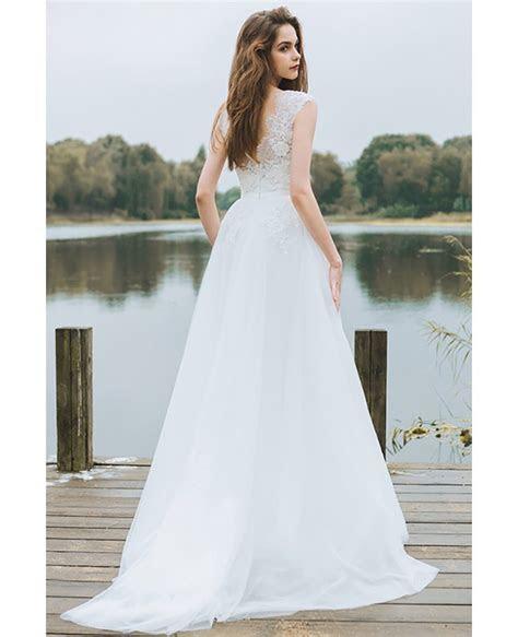 Simple Lace A Line Boho Beach Wedding Dress Long Tulle