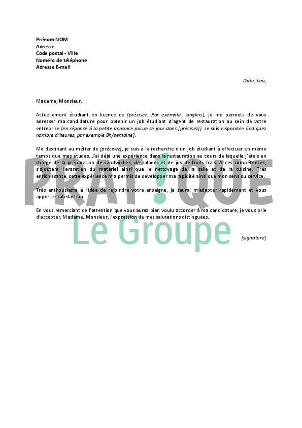 lettre de motivation job  u00e9tudiant en restauration
